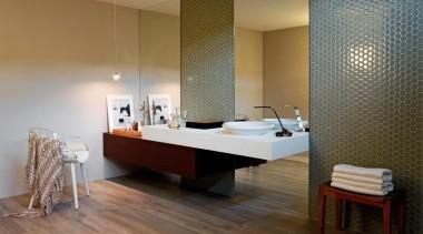 Bathroom floor tiles in Teca Intensa, 1200x200mm format architecture, bathroom, ceiling, floor, flooring, furniture, hardwood, interior design, laminate flooring, room, suite, table, tile, wall, wood, wood flooring, brown, gray