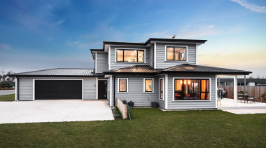 Sitting prominently in a new Mid-Canterbury subdivision this elevation, estate, facade, home, house, property, real estate, residential area, siding, sky, brown, teal