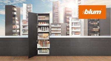 SPACE TOWER pantry: Flexible access, flexible storage & bookcase, display case, furniture, product, shelf, shelving, black