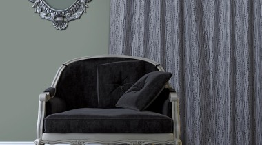 Frequency Room Hydra chair, couch, curtain, floor, furniture, interior design, table, textile, wall, window, window covering, window treatment, gray, black