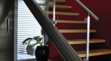 Hall Jalapeno baluster, floor, glass, handrail, interior design, stairs, structure, red, gray