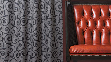 Lyrical Room Charcoal curtain, floor, interior design, pattern, textile, wall, window covering, window treatment, gray, red