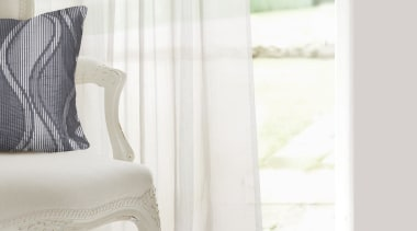 Meander chair, curtain, cushion, floor, furniture, interior design, product, table, textile, window, window treatment, white