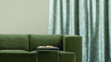 Metaphor Flat couch, curtain, furniture, green, interior design, living room, table, textile, wall, window, window covering, window treatment, gray