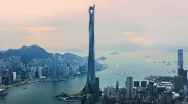 Skyscraper 2 atmosphere, bird's eye view, building, city, cityscape, daytime, haze, horizon, landmark, metropolis, metropolitan area, sky, skyline, skyscraper, tower, tower block, urban area, water, white