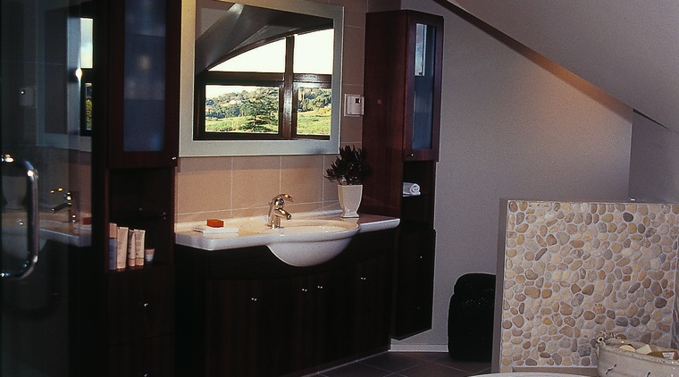 The view of a new ensuite of a architecture, bathroom, ceiling, floor, home, house, interior design, room, window, gray, black