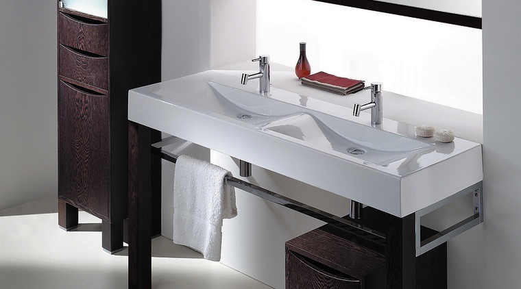 Plan 150 double bowl tallboy and drawer unit angle, bathroom, bathroom accessory, bathroom cabinet, furniture, plumbing fixture, product, product design, sink, gray