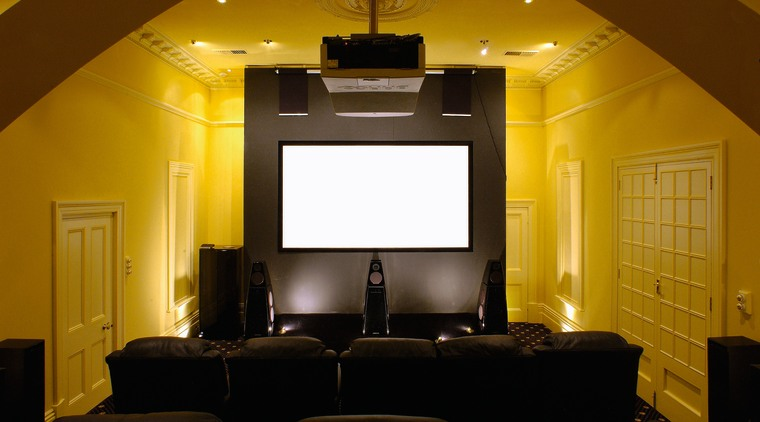 home theatre featuring Meridian digital theatre and music ceiling, home, interior design, light fixture, lighting, room, wall, brown, black