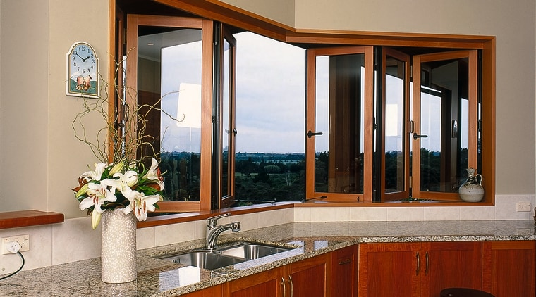 interior view of kitchen looking through retractable windows cabinetry, countertop, estate, home, interior design, kitchen, real estate, room, window, orange, red