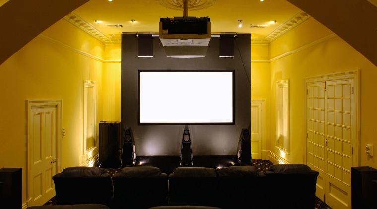 Audioworks home theatre system installation ceiling, entertainment, home, interior design, light fixture, lighting, room, wall, brown, black