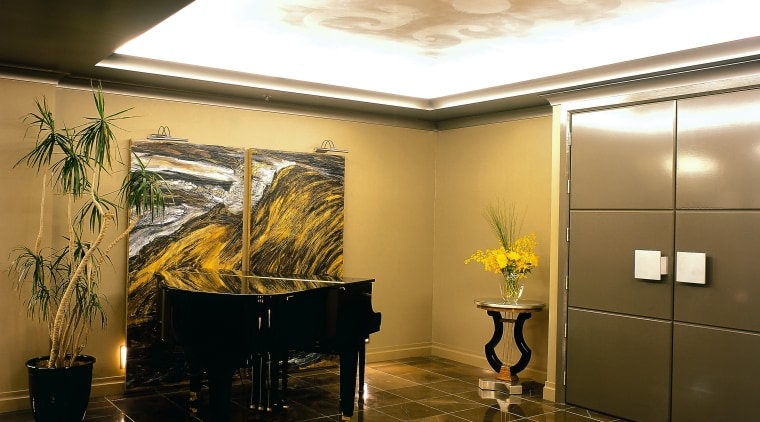 View of the entrance to this home ceiling, floor, interior design, lobby, wall, brown
