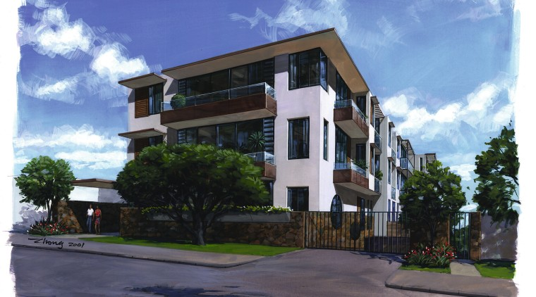 exterior view of apartments apartment, architecture, building, commercial building, condominium, elevation, facade, home, house, mixed use, neighbourhood, property, real estate, residential area, sky, white, blue