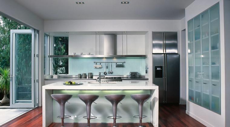 CONTEMPORARY KITCHEN cabinetry, ceiling, countertop, floor, interior design, kitchen, room, window, gray