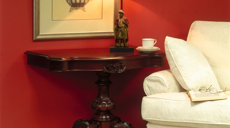 View of the furniture coffee table, end table, floor, furniture, interior design, living room, room, table, wall, red