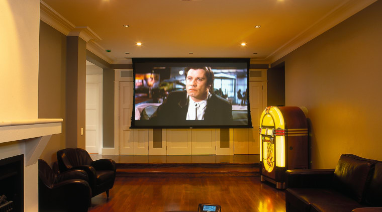 View of this home theatre system ceiling, conference hall, interior design, room, brown
