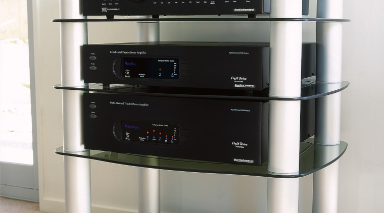 View of this sound system electronics, product design, small appliance, white