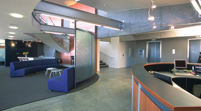 The mezzanine level is accessed from the reception interior design, lobby, office, gray