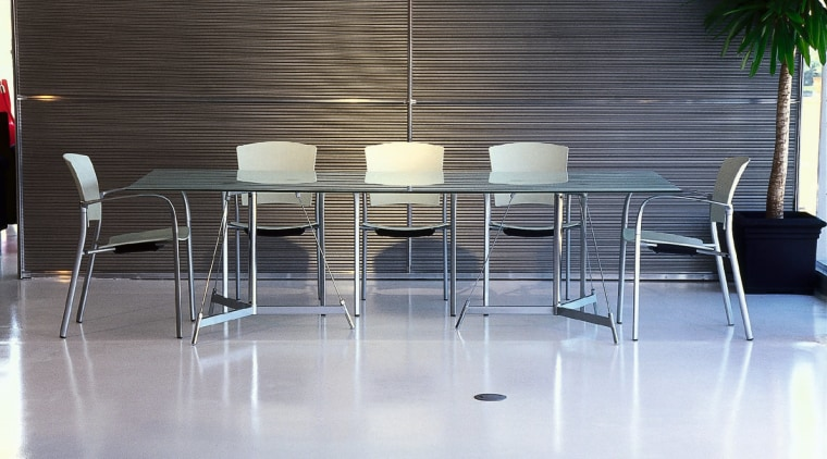 contemporary table and chairs chair, floor, flooring, furniture, glass, interior design, product design, table, gray, black