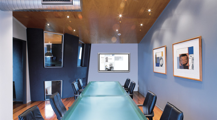 Boardroom featuring a plasma screen ceiling, interior design, real estate, room, gray