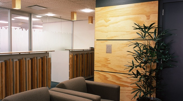 Reception desk and seating area architecture, ceiling, interior design, lobby, waiting room, wall, black, brown