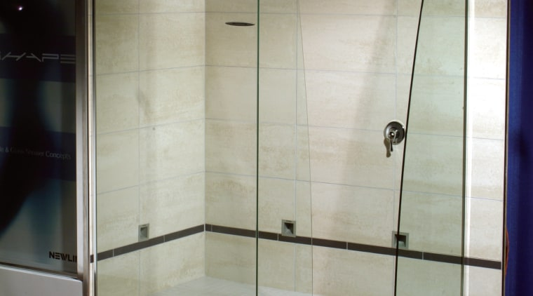 The view of a glass shower stall bathroom, glass, plumbing fixture, shower, gray, black