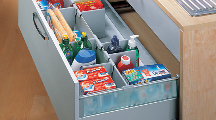 Close up view of this kitchen's storage drawer, furniture, product, shelf, shelving, gray, brown