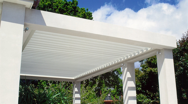 View of the vergola awning, daylighting, outdoor structure, real estate, roof, shade, structure, white
