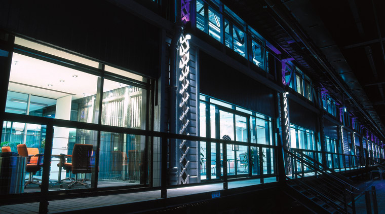 The offices of BlueScope Steel are in a architecture, blue, building, city, darkness, daylighting, facade, glass, light, metropolis, metropolitan area, night, public transport, reflection, structure, urban area, window, black