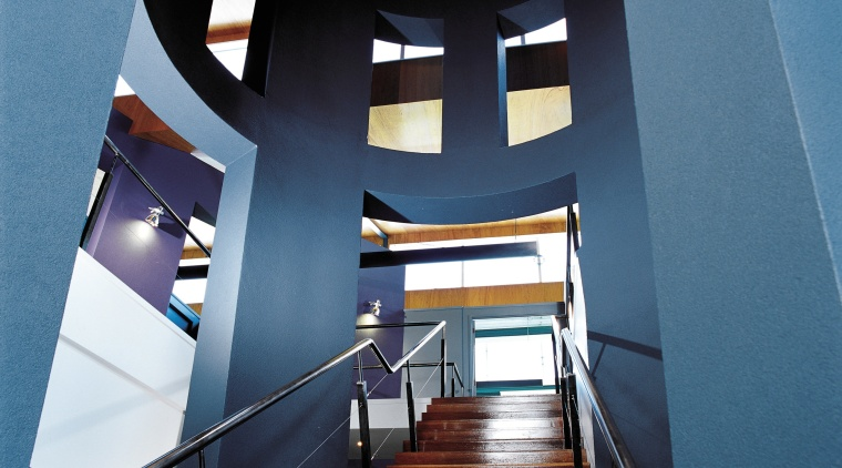 Timber stairway with stainless steel balustrades, surrounded by architecture, building, ceiling, daylighting, interior design, stairs, teal