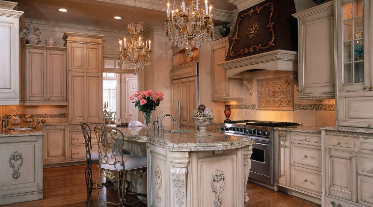 A luxurious kitchen featuring many brilliant features cabinetry, countertop, cuisine classique, floor, flooring, furniture, hardwood, interior design, kitchen, room, wood flooring, brown
