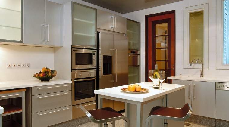 A modern approach to this kitchen cabinetry, countertop, cuisine classique, interior design, kitchen, room, gray, brown