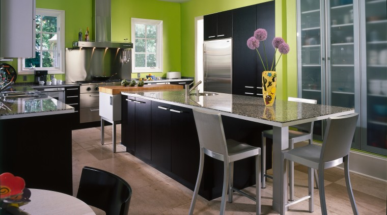 This is the kitchen's overall view countertop, dining room, interior design, kitchen, room, table, gray, black