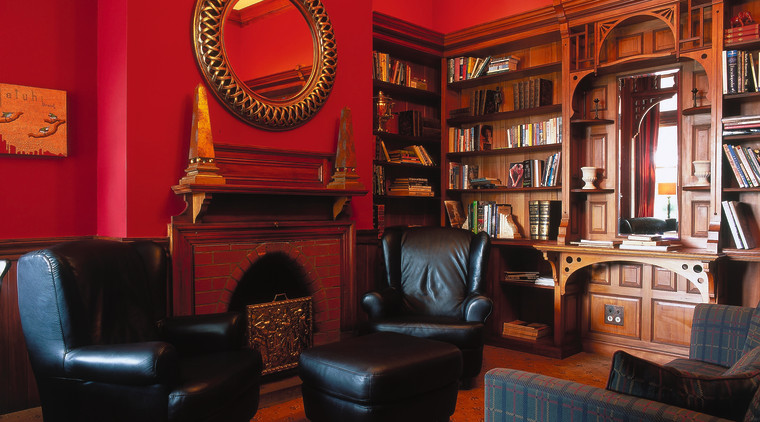 The view of a study furniture, interior design, living room, red, black