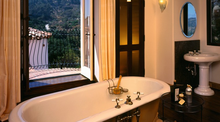 The view of a luxurious bathroom bathroom, estate, home, interior design, room, window, brown, orange