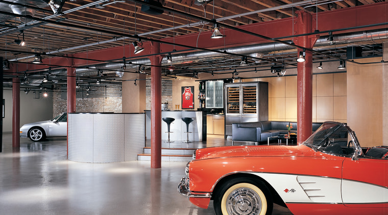 Themed kitchen, including bars, a dining and casual antique car, automobile repair shop, automotive design, automotive exterior, car, classic, house, motor vehicle, vehicle, vintage car, black, gray