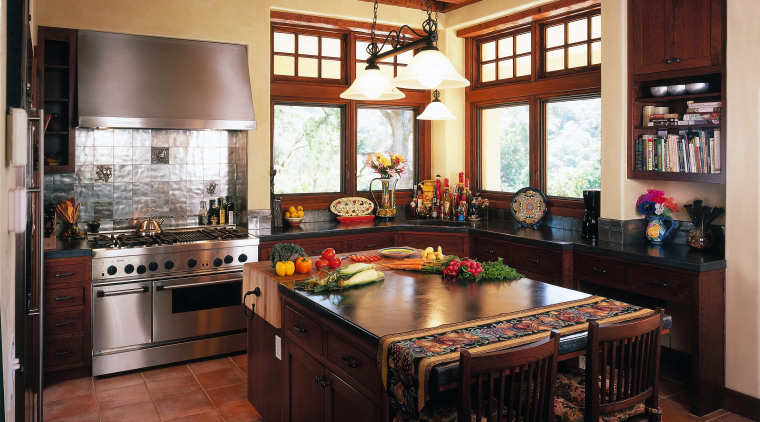 Traditional style kitchen with dark timber cabinetry and cabinetry, countertop, cuisine classique, estate, interior design, kitchen, real estate, room, window, red