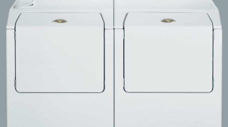 Side by side front loading washer and dryer product, product design, white