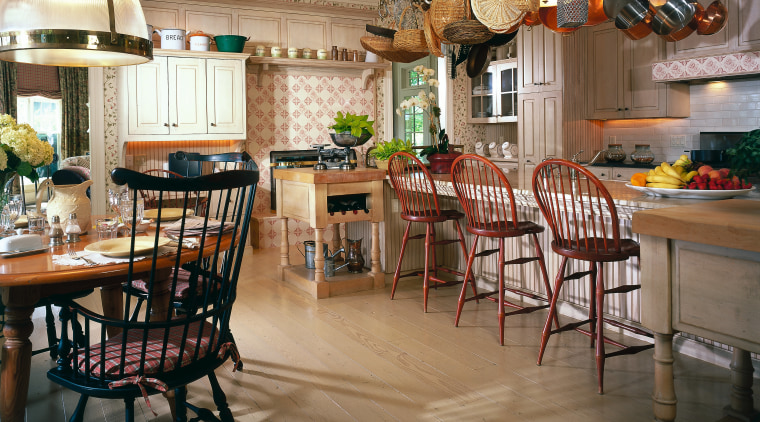Overview of this traditional kitchen dining room, flooring, furniture, interior design, kitchen, restaurant, table, brown