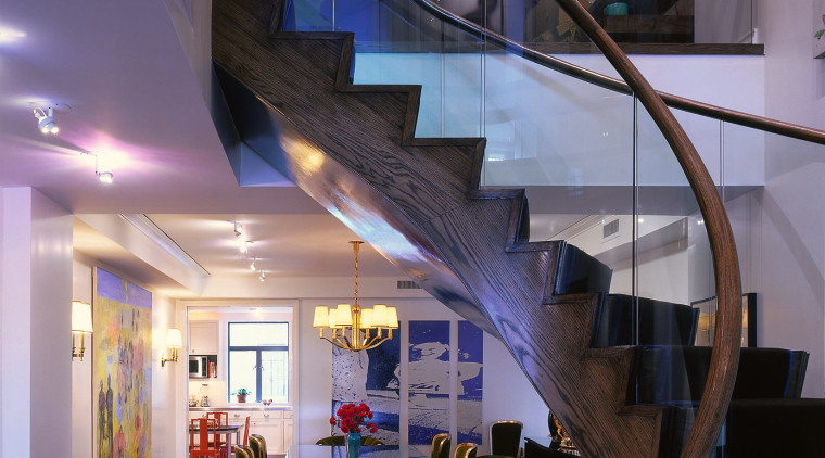 Spiral oak staircase in entrance. Round table beside architecture, ceiling, home, house, interior design, lobby, stairs, black