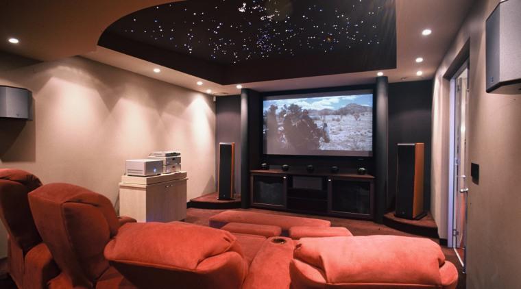 Len Wallis Audio showroom home theatre ceiling, entertainment, home, interior design, lighting, room, red