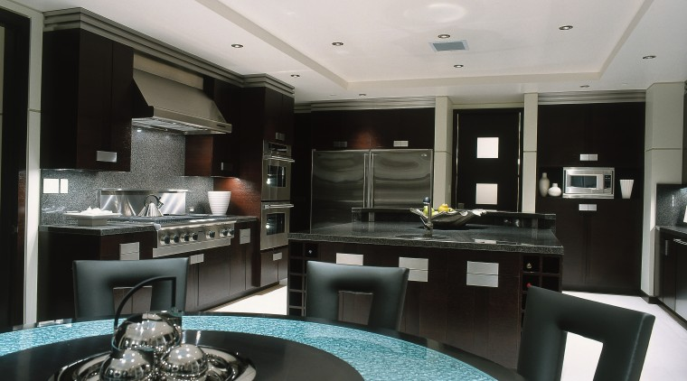 View of the dining & kitchen area ceiling, countertop, interior design, black, white