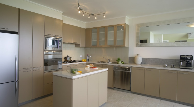 Kitchen with sand coloured cabinetry, white toned granite cabinetry, countertop, cuisine classique, interior design, kitchen, property, real estate, room, gray