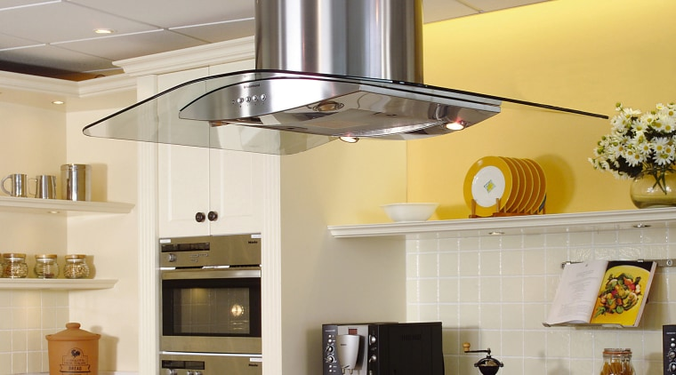 A canopyhood with a futuristic feel ceiling, countertop, interior design, kitchen, light fixture, gray
