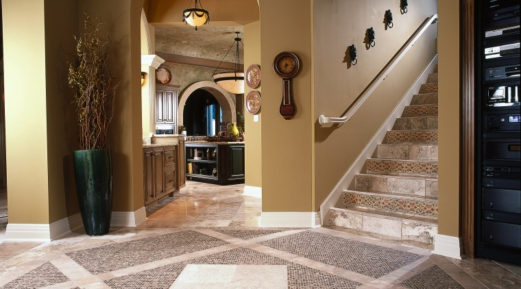 View of the stairway ceiling, estate, floor, flooring, hardwood, home, interior design, lobby, property, real estate, tile, wood flooring, brown, gray