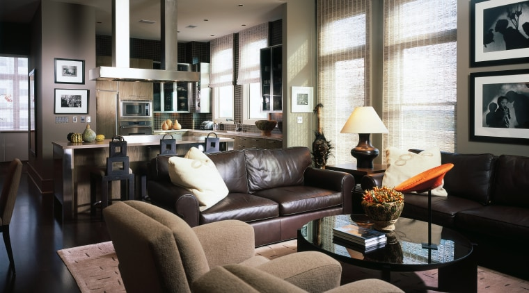 A view of the lounge and kitchen area furniture, home, interior design, living room, room, black, gray
