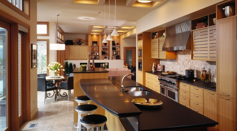 Family kitchen with adjoining dining room and family/living cabinetry, ceiling, countertop, cuisine classique, interior design, kitchen, real estate, room, brown