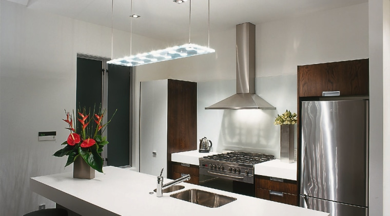 view of the kitchen lighting system architecture, ceiling, countertop, interior design, kitchen, product design, gray, white