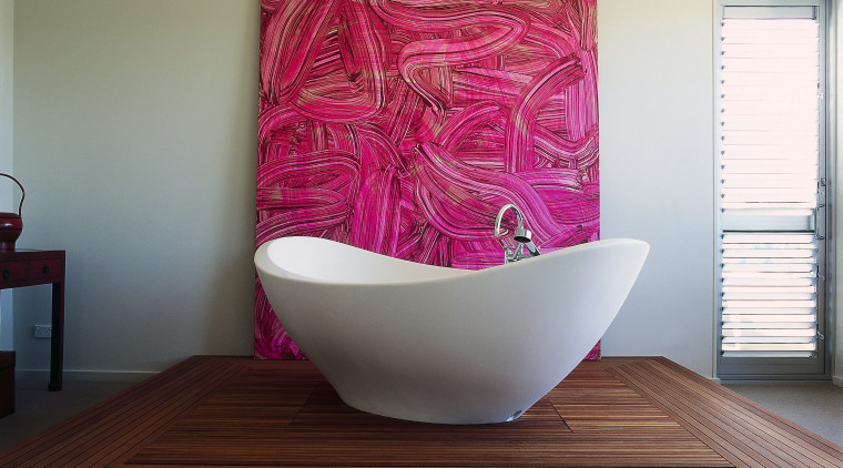 View of this out-of-it bathroom ceramic, furniture, interior design, product design, purple, room, table, gray