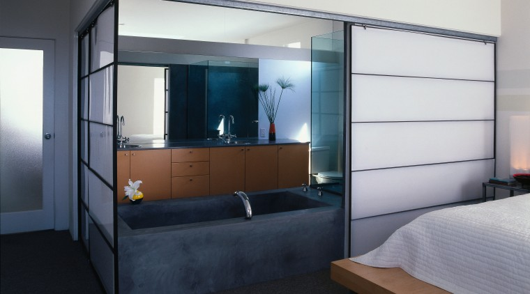View of the sliding screens that hide this furniture, interior design, window, gray, black