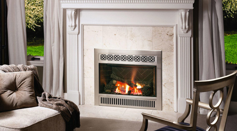 The view of a Neo Classical fireplace fireplace, furniture, hearth, home, home appliance, interior design, living room, wood burning stove, gray, black